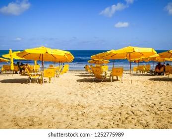 Recife, Brazil - Circa December 2018: A view of popular Boa Viagem beach in Recife, capital of Pernambuco state (Northeast of Brazil)