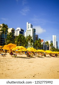 Recife, Brazil - Circa December 2018: A view of popular Boa Viagem beach in Recife, capital of Pernambuco state (Northeast of Brazil)