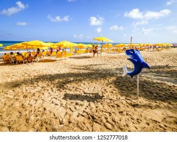 Recife, Brazil - Circa December 2018: A shark statuette at Boa Viagem beach - the beach is known for a high risk of shark attacks