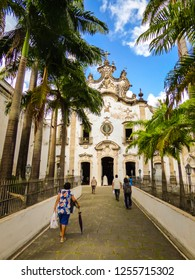 Recife, Brazil - Circa December 2018: Church St. Thereza of Jesus of the Venerable Third Order of Mount Carmo, 18th century church in the historic center of Recife