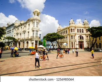 Recife, Brazil - Circa December 2018: People enjoying a Sunday morning at Marco Zero Square in Old Recife