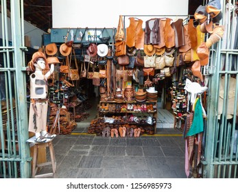 Recife, Brazil - Circa December 2018: Shop inside Sao Jose Public Market selling typical leather clothes and accessories