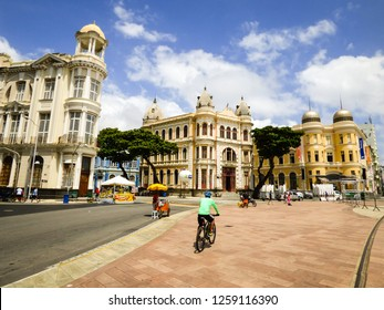 Recife, Brazil - Circa December 2018: A view of Marco Zero Square with well preserved historic buildings around