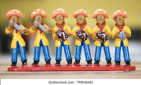 RECIFE, BRAZIL - JAN 5: Little clay sculpture painted in vibrant colors representing a Brazilian Forro band used as home decoration in the Northeast of Brazil on January 5, 2018.