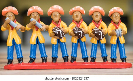 RECIFE, BRAZIL - JANUARY 20: Little clay sculpture painted with vibrant colors commonly used as home decoration in the Northeast of Brazil on January 20, 2018