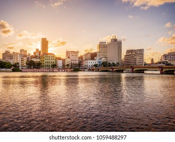 RECIFE, BRAZIL - MARCH 21, 2018: The skyline of Recife in Pernambuco, Brazil at sunset by the Capibaribe river.