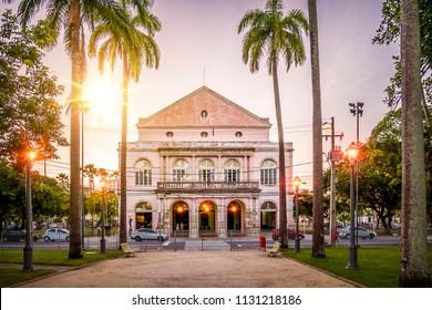 RECIFE, BRAZIL - MARCH 22, 2018: The historic architecture of Recife in Pernambuco, Brazil at sunset at Independence Square in Recife Downtown.
