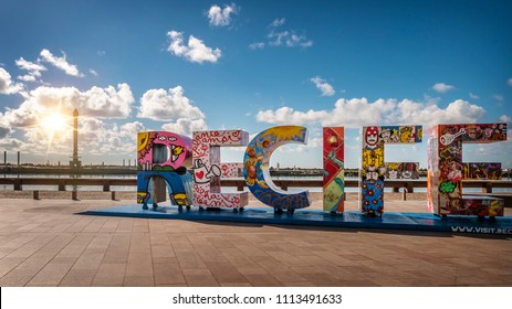 RECIFE, BRAZIL - MARCH 23, 2018: The historic architecture of Recife in Pernambuco, Brazil at Marco Zero Square on a sunny summer day.