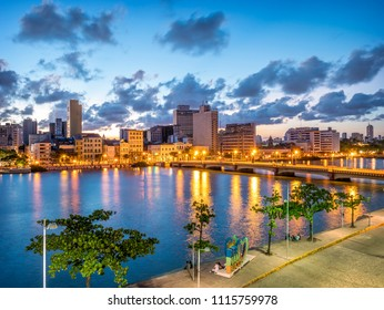 RECIFE, BRAZIL - MARCH 23, 2018: The historic architecture of Recife in Pernambuco, Brazil at sunset by the Capibaribe river.