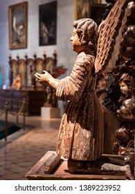 RECIFE, PE, BRAZIL - APRIL 20, 2019: View of baroque sculptures dated from the 17th century in Brazil carved in wood and painted with vibrant colors.