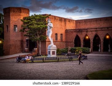 RECIFE, PE, BRAZIL - APRIL 20, 2019: The historic architecture of Instituto Ricardo Brennand museum in Recife, Pernambuco, Brazil.