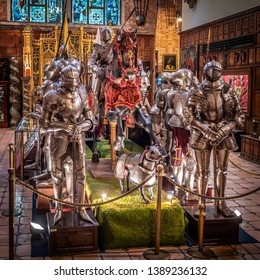 RECIFE, PE, BRAZIL - APRIL 20, 2019: fantastic collection of middle ages metal armor at Instituto Ricardo Brennand museum in Recife, Pernambuco, Brazil.