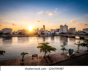 RECIFE, PE, BRAZIL - MARCH 5, 2018: The architecture of Recife in Pernambuco, Brazil by the Capibaribe River at sunset.