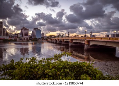 RECIFE, PE, BRAZIL - OCTOBER 10, 2018: View of the architecture of Recife in Pernambuco, Brazil at sunset by the Capibaribe river.