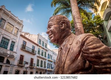 RECIFE, PE, BRAZIL - OCTOBER 10, 2018: The architecture of Recife in PE, Brazil showcasing the sculpture of  Antonio Maria at Bom Jesus Street in Recife Antigo.