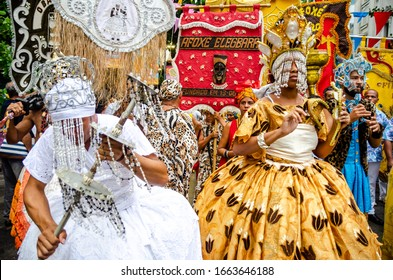 Recife, Pernambuco, Brazil. 2/20/2020. Afoxés meeting through the streets of Recife Antigo, an event that precedes the opening of the carnival.