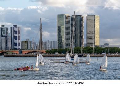 Recife, Pernambuco, Brazil - FEB, 2017: View of Capibaribe River from Cais Jose Estelita, Recife, Pernambuco, Brazil
