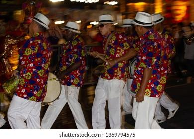 Recife, Pernambuco, Brazil, in February 2013. Popular Culture. Presentation of maracatu de baque solto: manifestation of the popular culture of Pernambuco. Musicians after presentation.
