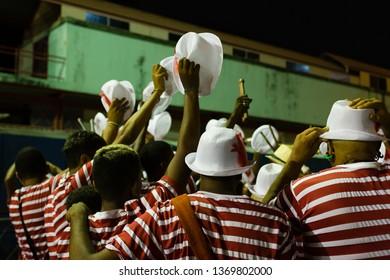 Recife, Pernambuco, Brazil, in February 2016. Popular Culture. Maracatu de baque virado (maracatu nation): manifestation of the popular culture of Pernambuco. Batuqueiros before the official parade.