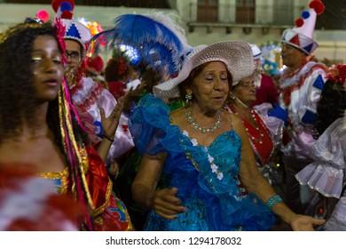 Recife, Pernambuco, Brazil, in February 2017. Culture Popular. Carnival. Lyrical block. Frevo: manifestation of the popular culture of Pernambuco. Elderly woman with blue dress.
