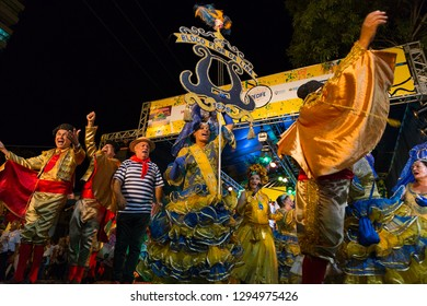 Recife, Pernambuco, Brazil, in February 2017. Culture Popular. Carnival. Group of people dancing the frevo: manifestation of the popular culture of Pernambuco.
