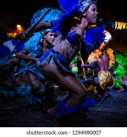 Recife, Pernambuco, Brazil, in February 2017. Culture Popular. Carnival. Group of people dancing the caboclinho: manifestation of the popular culture of Pernambuco.