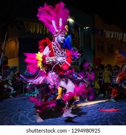 Recife, Pernambuco, Brazil, in February 2017. Culture Popular. Carnival. Man dancing the caboclinho: manifestation of the popular culture of Pernambuco.