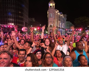 Recife, Pernambuco, Brazil, in February 2017. Public watching the opening of the Carnival in Old Recife.