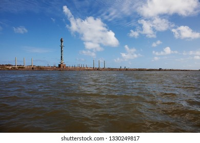 RECIFE, PERNAMBUCO, BRAZIL - JAN 29, 2019: Sculpture Park Francisco Brennand, view from Capibaribe River.