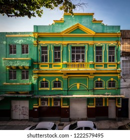 RECIFE, PERNAMBUCO, BRAZIL - OCTOBER 15, 2018: The colonial buildings of Recife in Pernambuco, Brazil at Recife Antigo and Rua do Bom Jesus at sunset.