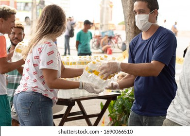 Recife, Pernambuco/Brazil - March 30 2020: delivery of donations for the manufacture of meals for homeless people on the streets of Recife during the covid-19 / coronavirus epidemic