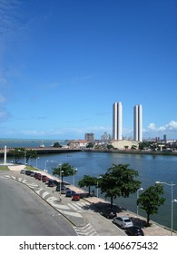 Recife/Brazil - December 4, 2008: a beautiful view of the Capibaribe river with the twin towers in the background, in Recife, Brazil.