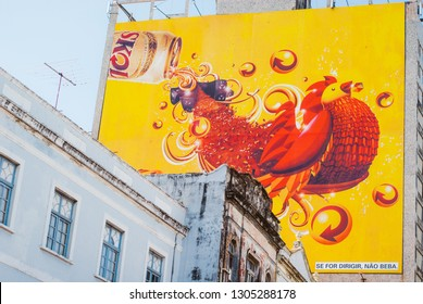 RECIFE,BRAZIL-FEB.21,2009: skol beer producers giant ads tells people not to drive after drinking
