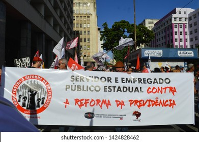 Recife/Pernambuco/Brazil - june 14 2019: Nacional Stoppage against the brazilian governnment social security and pension reform cuts at the june 14 general strike protest