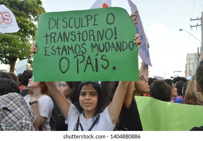 Recife/Pernambuco/Brazil - May 15 2019: Brazilian nacional Stoppage against the Bolsonaro govenment policies on the public aducation cuts, weapom carrying resolution and the PEC of the pension reform