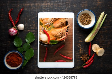 Recipe book fresh herbs south asia imagen de archivo stock recipe book with fresh herbs south asia and spices tablet on wooden background thai forumfinder Gallery