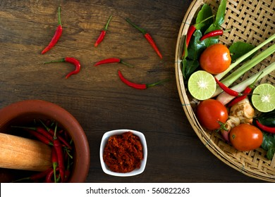 Recipe book with fresh herbs south asia and spices on wooden background, (concept thai food),top view