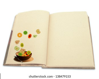 Recipe book ilustrated with fruit salad isolated on white