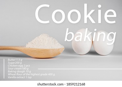 recipe for a culinary dish of pasta, pizza, cake, cookies. flour and eggs on a white background. products for cooking at home. healthy foods - Shutterstock ID 1859212168