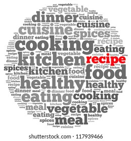 Recipe info-text graphics and arrangement concept on white background (word cloud)