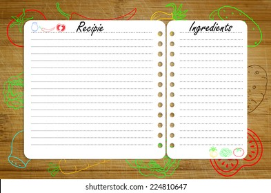 recipe page template design on wooden stock photo edit now