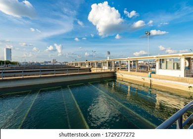 Recirculation Solid contact Clarifier Sedimentation Tank in Water treatment plant. Microbiology of drinking water production and distribution concept