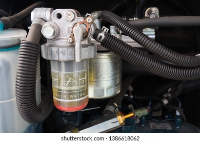 Recklinghausen, Germany: May 01.2019: Fuel Filter of an diesel engine