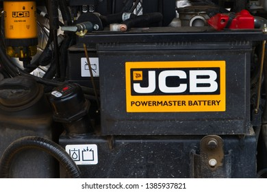 Recklinghausen, Germany: May 01.2019: JCB excavator diesel engine with detailed view on most parts