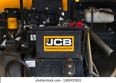 Recklinghausen, Germany: May 01.2019: JCB excavator diesel engine with a good view on most parts