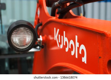 Recklinghausen, Germany: May 01.2019: Shallow front view of an Kubota excavator