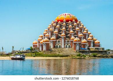 Reclamation island in Losari beach, city of Makassar of Indonesia.