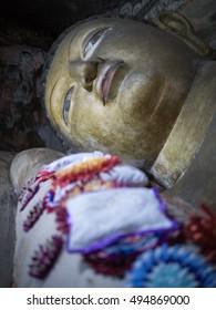 Reclining Buddha face Sri Lanka