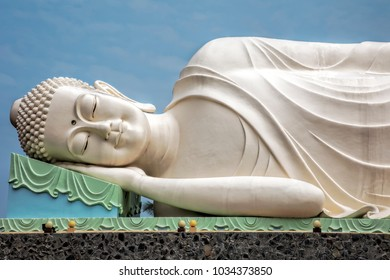 Reclining Buddha statue at the Vinh Trang Temple in Mytho City, Mekong Delta, Vietnam
