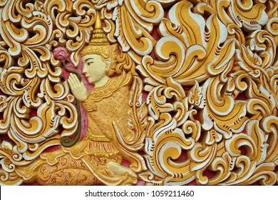 Reclining Buddha Wat Chaiyamangalaram burmese temple with sleeping Buddha